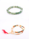 Bead Bracelets, Bead Necklace on White Background Royalty Free Stock Photo
