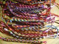 Beaded bracelets at the fair are on sale a jewelry booth Stock Image