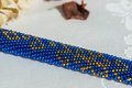Beaded crocheted bracelet with oriental ornaments Royalty Free Stock Photo