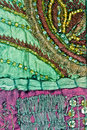Beaded and embroidered fabric Royalty Free Stock Photos