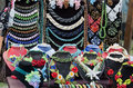 Beaded jewelry on display in the street market for tourists Stock Photos