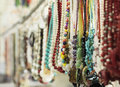 Beaded necklace the colorful hang on the rack Royalty Free Stock Photo