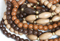 Beads closeup of brown on white background Royalty Free Stock Images