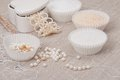 Beads jewelry on natural linen background hand made Stock Photos