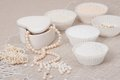 Beads jewelry on natural linen background hand made Royalty Free Stock Images