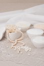 Beads jewelry on natural linen background hand made Stock Image