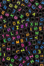Beads multi colored with characters of the latin alphabet background Stock Images