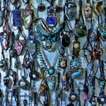 Beads and necklaces made of natural stone Royalty Free Stock Images