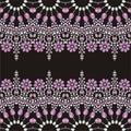 Beadwork handmade hand embroidery beautiful jewelry fabric shawl wallpaper retro pattern from brilliant stones silk scarf fashion Stock Photo