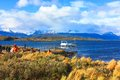Beagle channel the is a strait in the archipelago island chain of tierra del fuego on the extreme southern tip of south america Royalty Free Stock Image
