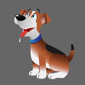 Beagle dog panting cartoon illustration of a Royalty Free Stock Photo