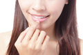 Beaitiful Girl smile mouth (lip) and hand Stock Images
