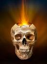 Beam of fire blaze from broken human skull burst out internal on dark background Stock Photos