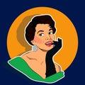 Beaming Woman - Retro Clip Art Royalty Free Stock Photo