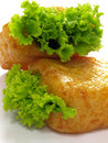 Bean curd buns with lettuce Stock Images