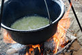 Bean from pot beans cooked in the nature on the coast of the danube river Stock Photo