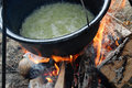 Bean from pot beans cooked in the nature on the coast of the danube river Stock Image