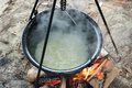Bean from pot beans cooked in the nature on the coast of the danube river Stock Images