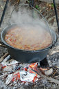 Bean from pot beans cooked in the nature on the coast of the danube river Stock Photos