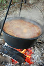 Bean from pot beans cooked in the nature on the coast of the danube river Royalty Free Stock Photo