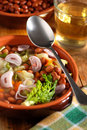 Bean soup in the bowl and shallot Royalty Free Stock Photos