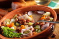 Bean soup in the bowl and shallot Stock Images
