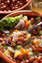 Bean soup in the bowl and shallot Royalty Free Stock Images