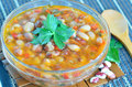Bean soup freshly made in glass bowl Royalty Free Stock Images