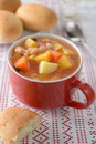 Bean soup in a red mug Stock Photography
