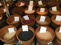 Bean and spice stall at fresh market Stock Photo