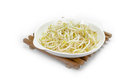 Bean sprouts with dish isolated on white background Royalty Free Stock Photo