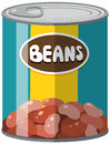 Beans in aluminum can Royalty Free Stock Photo