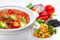 Beans cooked in slow cooker pinto and garbanzo with vegetables Royalty Free Stock Photography