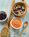 Beans and lentil on a wooden table selective focus Stock Image