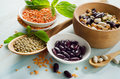 Beans and lentil on a wooden table selective focus Royalty Free Stock Photography