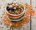 Beans and lentil on a wooden table selective focus Royalty Free Stock Image