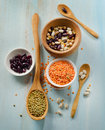 Beans and lentil on a wooden table selective focus Stock Photo