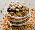Beans and lentil on a wooden table selective focus Stock Photography