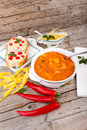 Beans soup with crostini and chili peppers cannellini tomatoes pasta served hot Royalty Free Stock Image