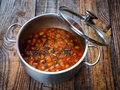 Beans stew on a wooden board Royalty Free Stock Photo