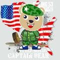 Bear army cartoon vector