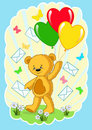 Bear with balloons. Cartoon. Royalty Free Stock Image