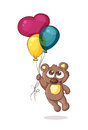 Bear with balloons flying on colorful Royalty Free Stock Images