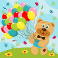 Bear with balloons vector illustration Stock Photos
