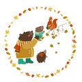 Bear bear cub squirrel and hedgehog walking in the autumn forest vector illustration Stock Photo