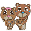Bear bear family cute illustration design drawing families isolated white color background graphic element Royalty Free Stock Images