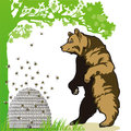 Bear and beehive illustration of looking at under tree Royalty Free Stock Images
