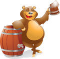 Bear with beer by barrel Royalty Free Stock Images