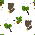 Bear, bees and honey background Royalty Free Stock Photography