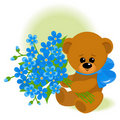 Bear with bouquet Royalty Free Stock Photo
